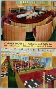 Chicago, IL Postcard CORNER HOUSE Restaurant & Table Bar 100 E. Ohio St. Linen