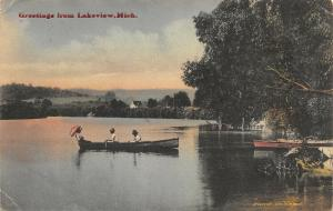 Lakeview Michigan~Men Row Boat: Victorian Lady w/ Parasol Lounges~1910 Handcolor