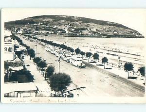 Pre-1950 rppc BUSES BY SHOPS - Cerro San Antonio - Piriapolis Uruguay HM3640