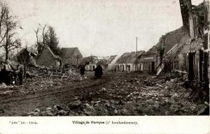 Belgium - Perwyse. Campagne de 1914. Battle of the Yser. Village street scene...