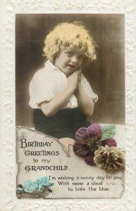 Postcard Greetings birthday flowers grandchild