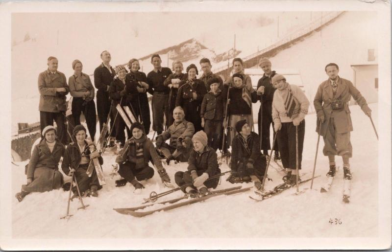 Group of Skiers Skiing WH Madden PO Marple Cheshire 1934 Real Photo Postcard E32