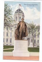 Concord NH Pierce Memorial Monument Statue Vintage New Hampshire Postcard