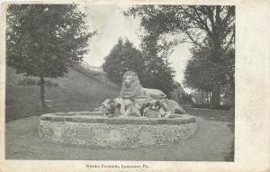 Lancaster Pennsylvania~Lion on Nevins Fountain~1905 B&W Postcard