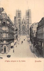 Belgium Bruxelles, L'Eglise collegiale de Ste Gudule, cart,, street view CPA