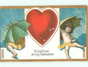 Pre-Linen Valentine CUPIDS UNDER UMBRELLAS AB2713