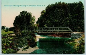Attica New York~Thru Truss Pony Bridge over Tonawanda River~1910 Postcard