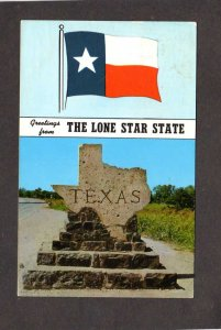 TX Greetings From Lone Star State Texas Flag Postcard Stone Marker State Lines