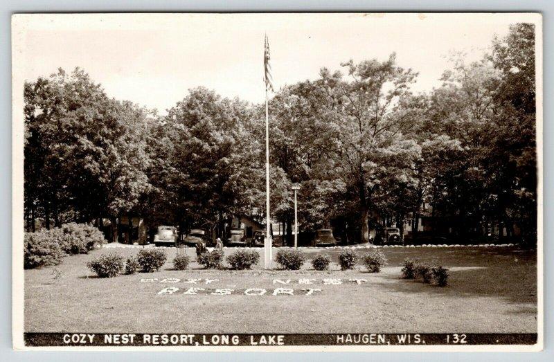 Haugen WI Large Letter Flowers Cozy Nest Resort Long Lake~Cabins RPPC 1940s