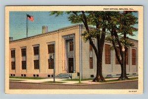 Moline IL, Post Office, Illinois Linen Postcard