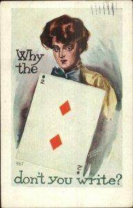 Beautiful Woman 2 Deuce of Diamonds Playing Cards Poker c1910 Postcard