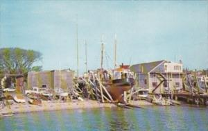 Massachusetts Cape Cod Fishing Trawler & Yachts On Marine Railways Provincetown