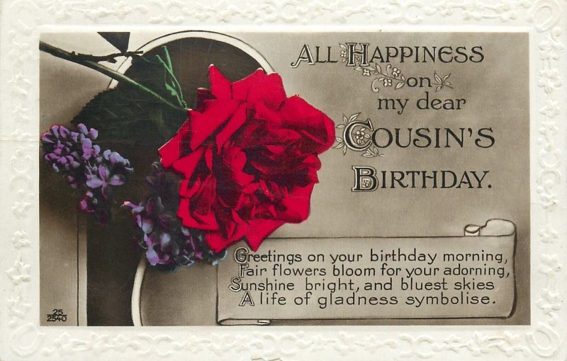 British embossed Postcard All Happiness on my dear cousin's birthday garden rose