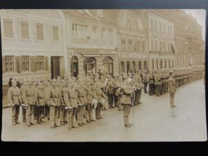 Russian / German Soldiers Military Band, Spiked Helmet on Parade Old RP Postcard