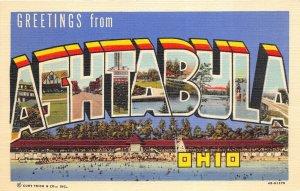 Ashtabula Ohio 1940s LARGE LETTER Greetings Postcard by Curt Teich