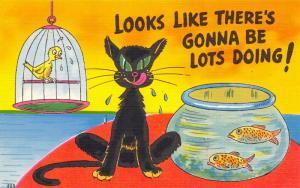 Comic Cat Pun~Gonna Be Lots Doing! Black Cat Between Goldfish Bowl & Bird~Linen