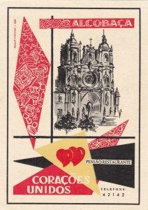 Portugal Coracoes Alcobaca Pensao Restaurante Vintage Luggage Label sk2400