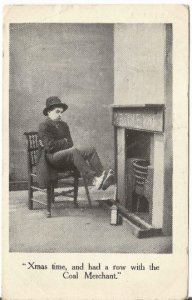 Funny Christmas Card Early 1900's Guy in Derby Warming Bare Feet by Cold Firepla