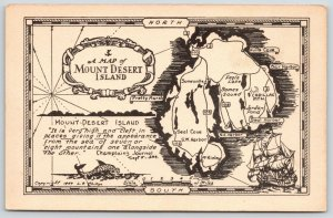 Mount Desert Island ME~Hulls Cove~Map~Somesville~~Sailing Ship~Sea Serpent~1949