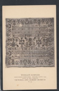 V & A Museum Postcard - Woollen Sampler Embroidered With Silks, English  RS12813