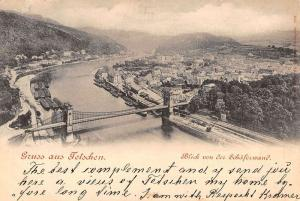 Tetschen Czech Republic Birdseye View Of City Bridge Antique Postcard K23530