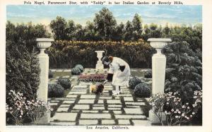 Los Angeles CA~Beverly Hills Mansion~Pola Negri & Dog~Paramount Movie Star~1920s