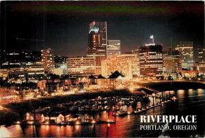 Downtown Riverplace Portland Oregon OR pm night view skyline Postcard