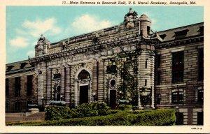 Maryland Annapolis Main Entrance To Bancroft Hall U S Naval Academy Curteich