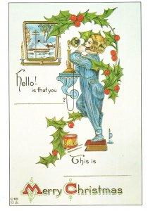 Edwardian Christmas British Telecom Old Phone Greetings Card Postcard