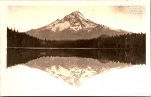 Mt Hood at Lost Lake OR RPPC Postcard unused 1930s/40s