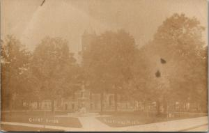 Hastings MI~Path To Civil War Soldiers Monument In Front of Courthouse~RPPC 1910
