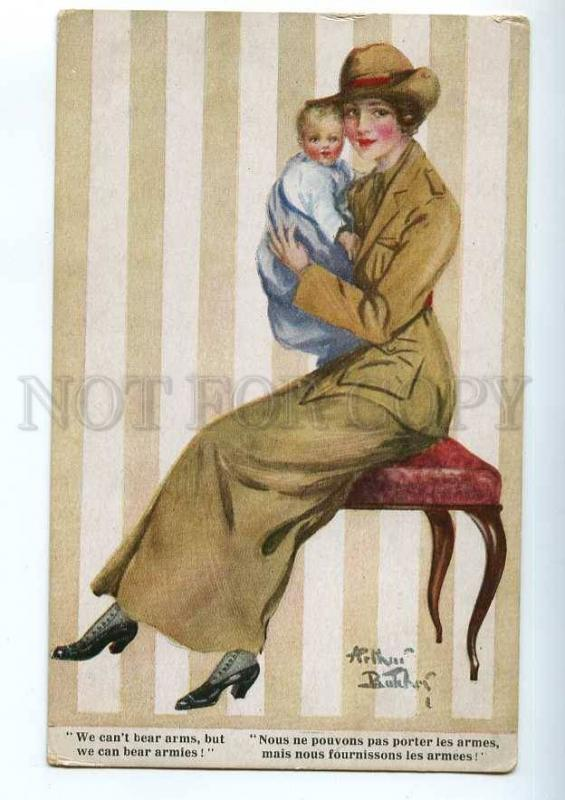 215305 Military Woman & Baby by Arthur BUTCHER vintage PC