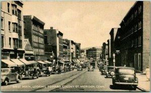 Meriden, Connecticut Postcard WEST MAIN STREET Downtown Scene - 1947 Cancel