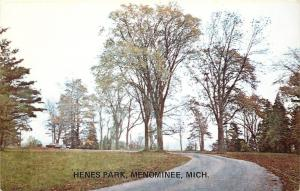 Menominee Michigan~View in Henes Park Path Trees and Car 1950s Postcard