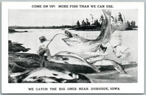 EXAGGERATED FISHING VINTAGE POSTCARD DUBUQUE IOWA