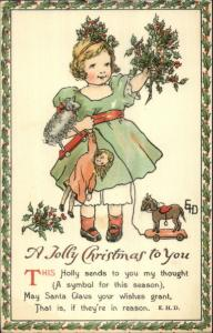 Ethel DeWees Christmas - Girl Doll Toys Holly NISTER c1910 Postcard EXC COND
