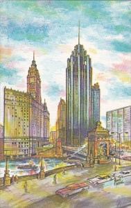 Chicago Art Card North Michigan Avenue At The Chicago River Chicago Illinois
