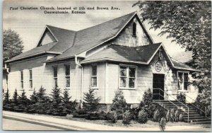 Osawatomie, Kansas Postcard First Christian Church, 5th & Brown Ave. c1940s