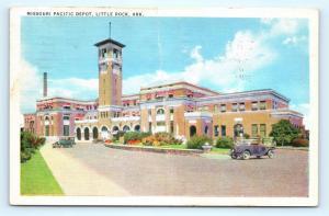 Postcard AR Little Rock Missouri Pacific Depot Vintage Linen H05