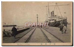 Old Postcard The Pier Yokohama of Japan Nippon Boat