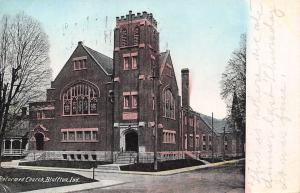 Bluffton Indiana~Reformed Church~Corner Belltower~Postcard 1908