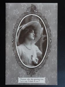Greeting: Dearest, take this greeting true, Let it say I THINK OF YOU c1910 RP