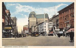 Detroit Michigan~Woodward Avenue Theatre~Novelties~Hudson's~Hats~Trolleys~1916