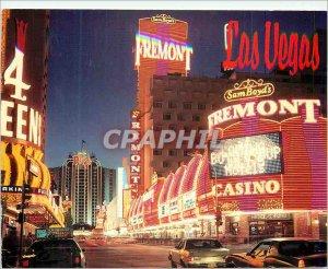 Postcard Modern Las Vegas Fremont Street at Night Sam Boyd's Fremont