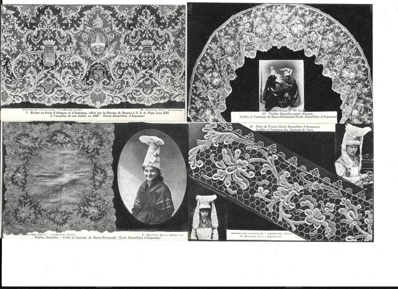 Lace - Four postcards with pictures of old lace work unposted  #2206