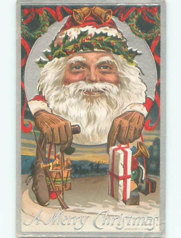 Pre-Linen christmas GREAT LARGE IMAGE OF SANTA CLAUSE FACE ON POSTCARD W7158