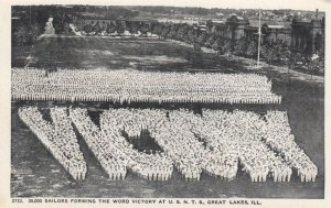GREAT LAKES , Illinois, 1910s; Sailors forming the word VICTORY at U.S.N.T.S.
