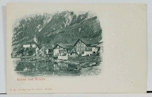 Brienz Switzerland Greetings c1899 Postcard G4