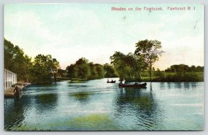 Cranston=Rhodes on the Pawtuxet Rhode Island~Rowboating Near Sundown c1910 PC