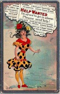 Artist-Signed DWIG Comic Postcard HELP WANTED Woman / Polka Dot Dress 1909